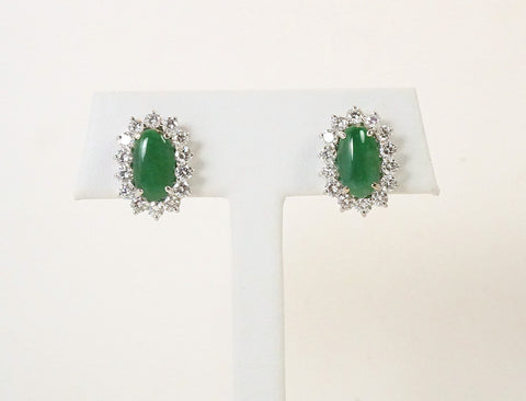 Classic jadeite and diamond earrings
