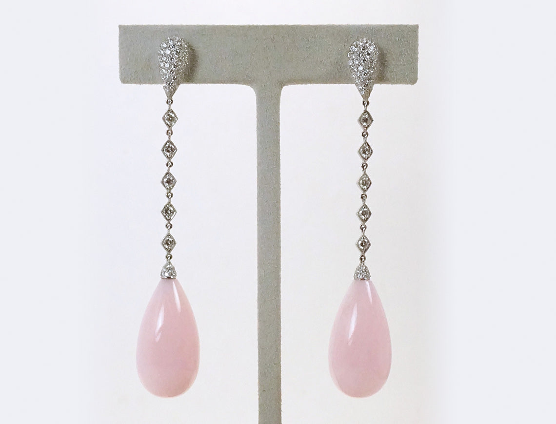 Dramatic pink opal drops