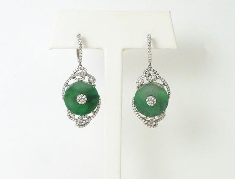 Dramatic jadeite and diamond earrings