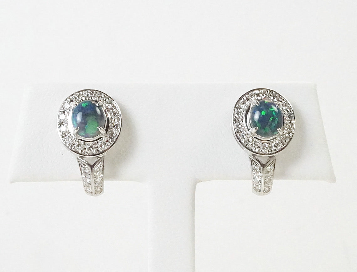 Black opal clip earrings