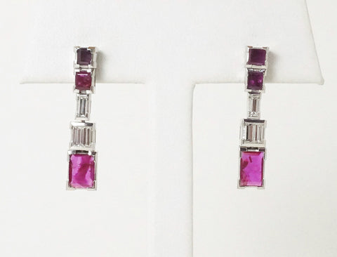 Custom-made ruby and diamond drops