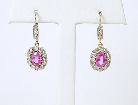 Vintage pink sapphire and diamond earrings