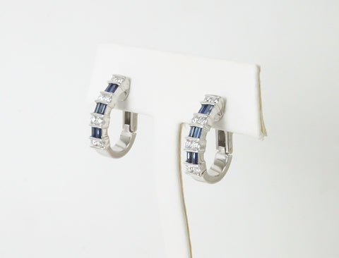 Sapphire and diamond hoops by GemLok®