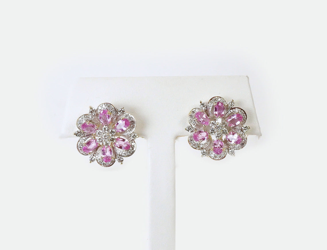 Pink sapphire flower clusters