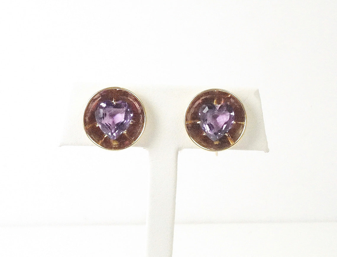 Vintage Retro amethyst non-pierced earrings