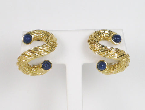 Clip earrings with lapis