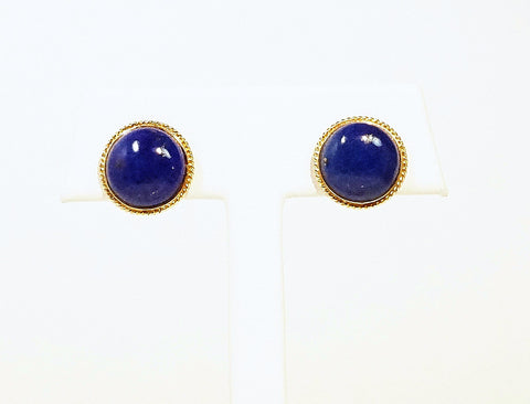 Lapis button earstuds