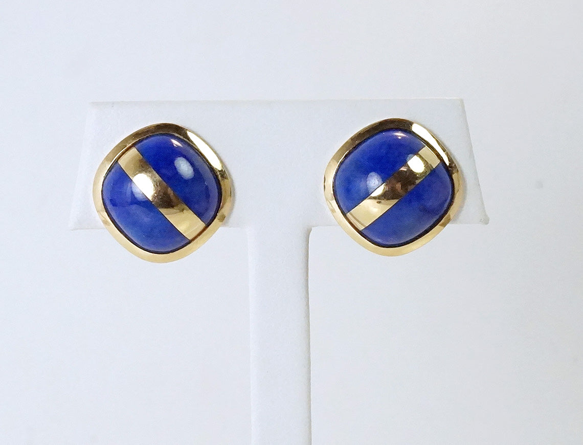 Lapis and gold buttons