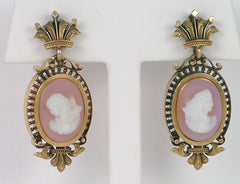 Antique hardstone cameo earrings