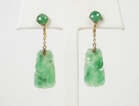 Carved jadeite dangle earrings
