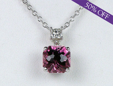 Rose tourmaline and diamond pendant - ORIGINAL PRICE $2595