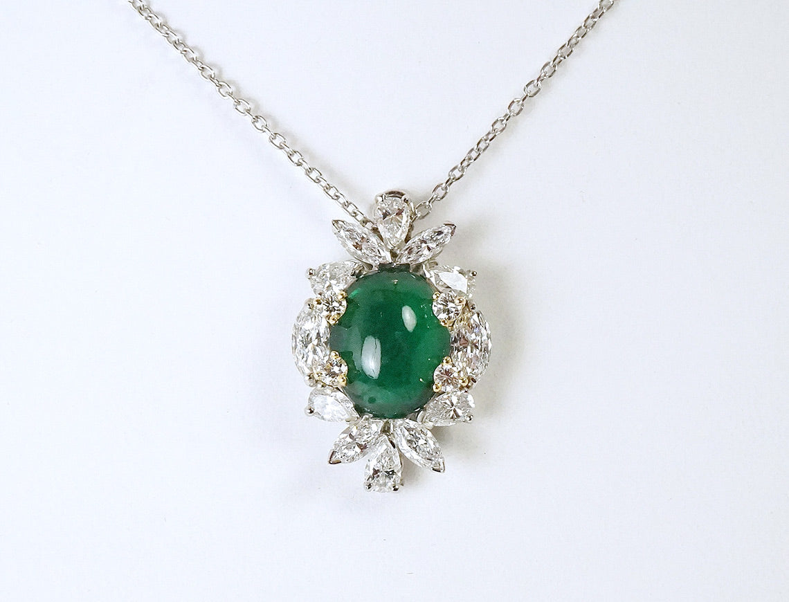 Emerald cabochon necklace