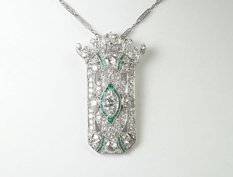 Platinum diamond and emerald Art Deco pendant