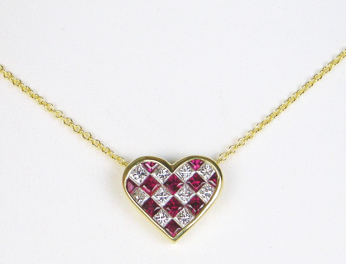 Diamond and ruby heart by Tiffany