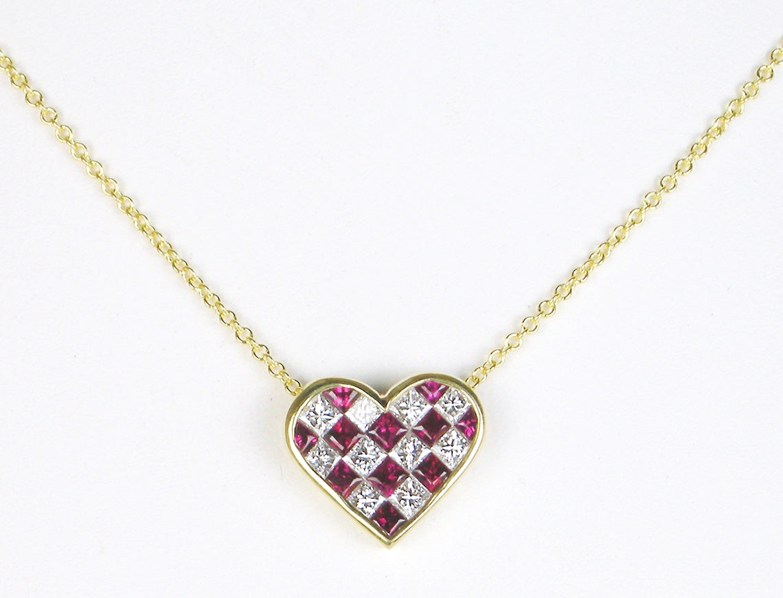 Ruby and diamond heart by Tiffany