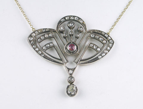 Art Nouveau diamonds and pink sapphire