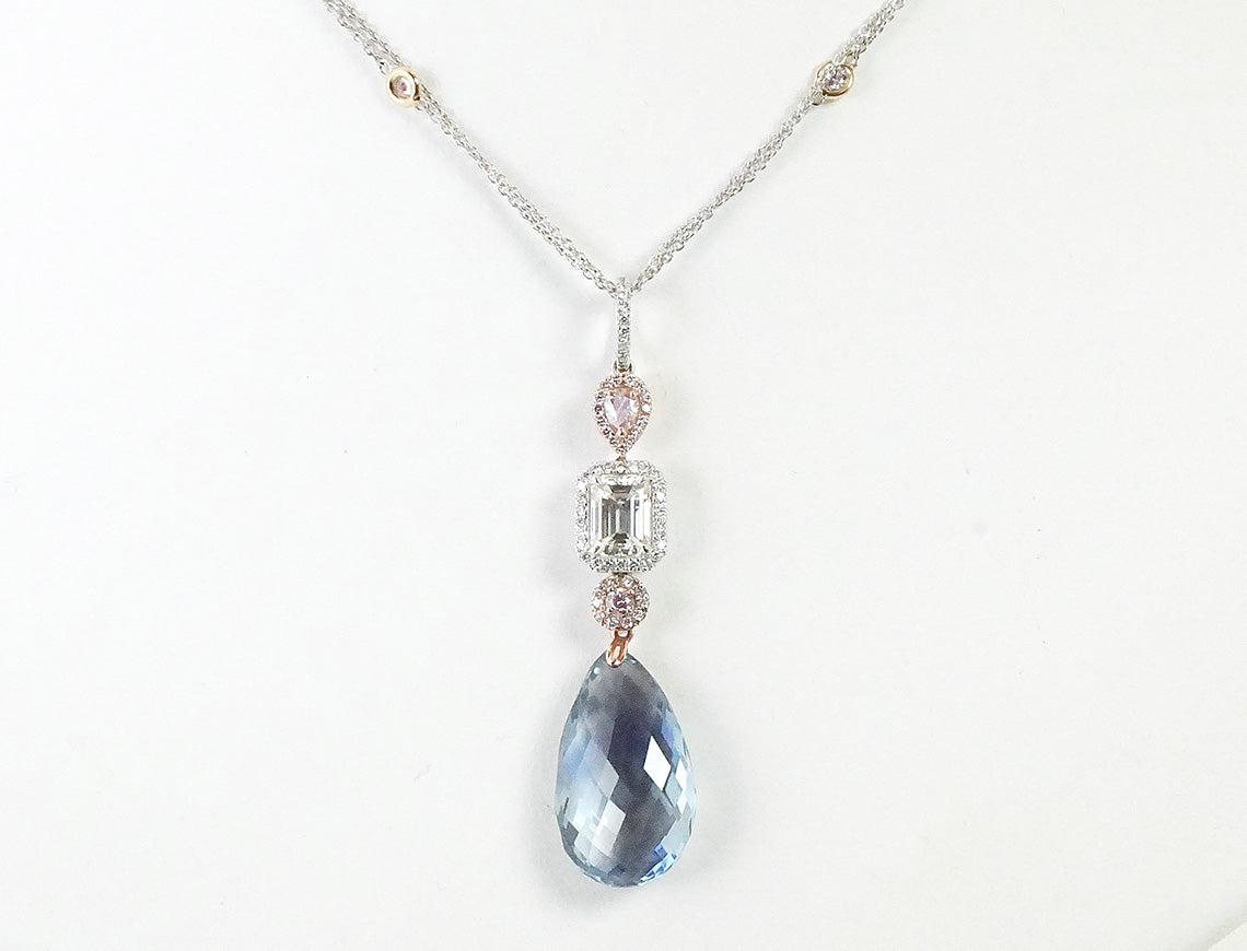 Sapphire briolette, white and pink diamond necklace