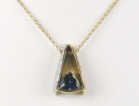 Custom made tanzanite and diamond pendant