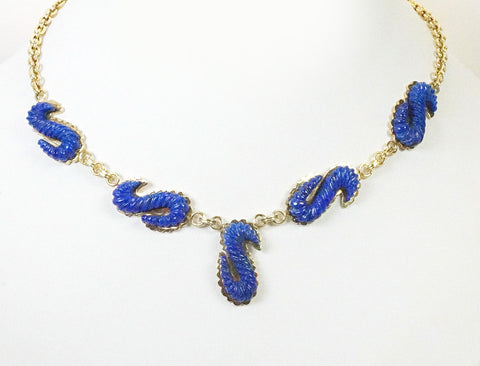 Unique lapis and gold necklace