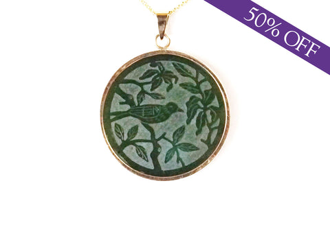 Nephrite jade medallion - ORIGINAL PRICE: $195