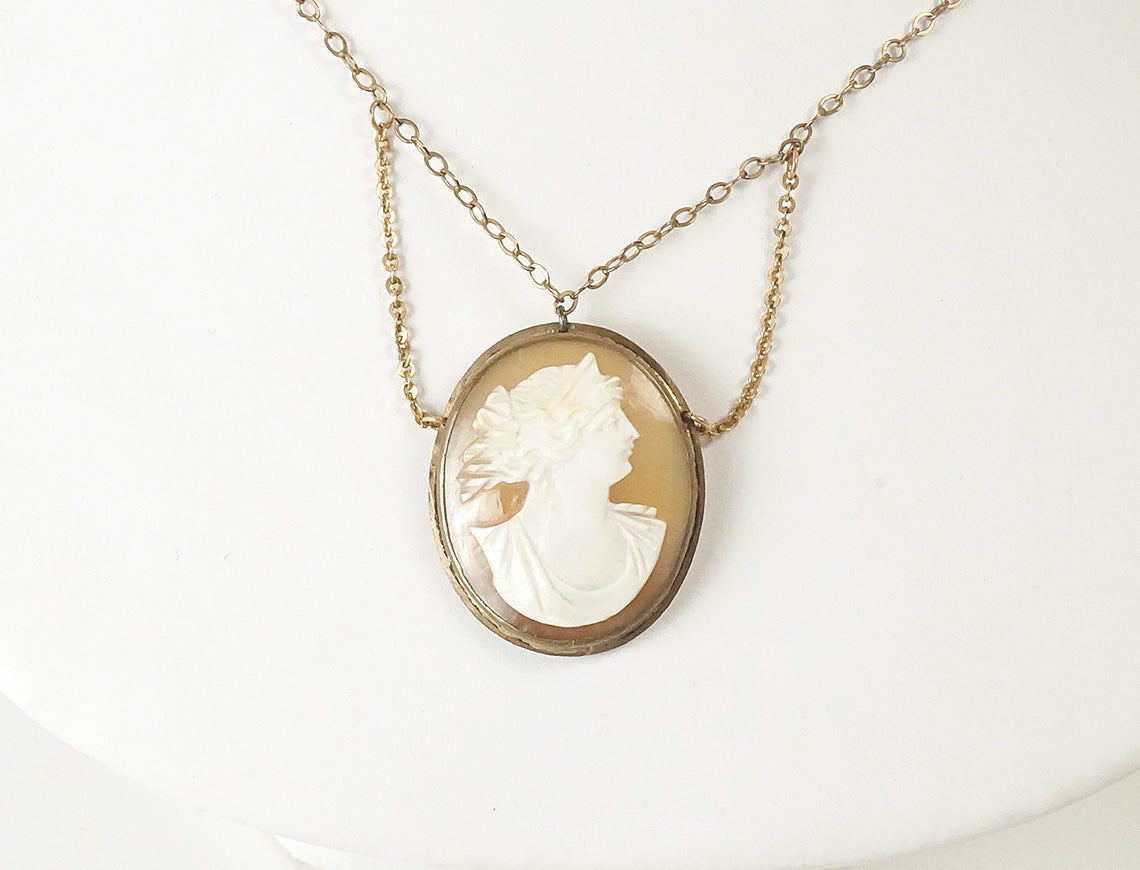 Antique cameo swag necklace