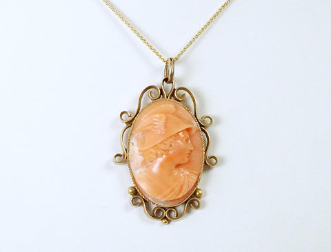 Carved coral cameo