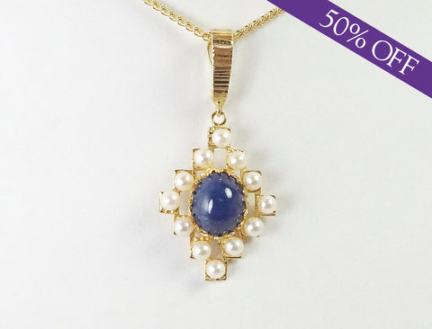 Lapis and pearl pendant - ORIGINAL PRICE: $520