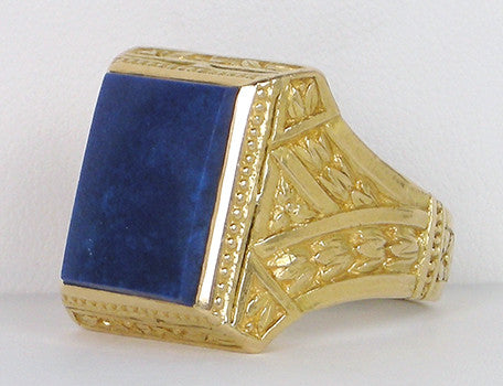 Elegant man's lapis ring