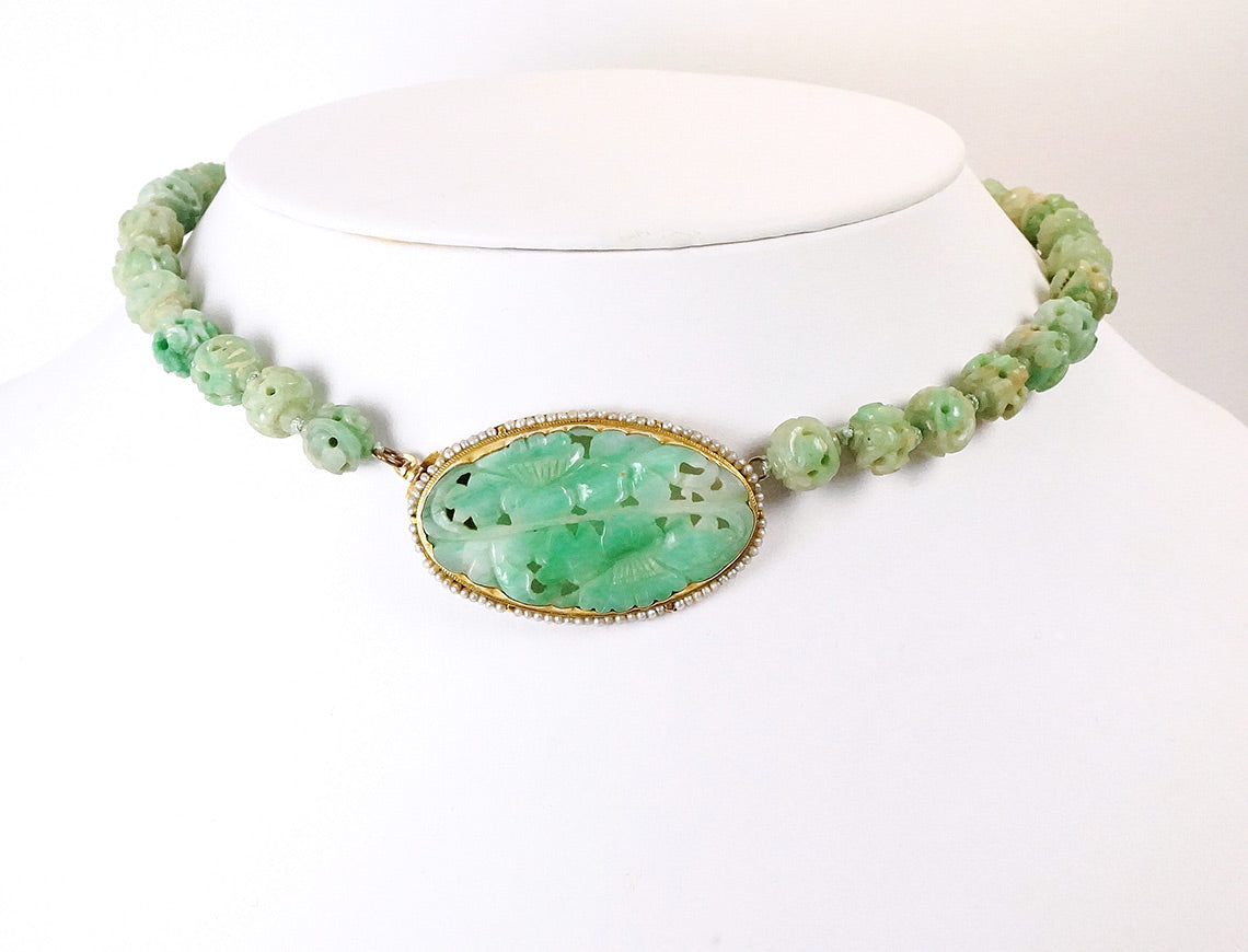 Carved jade necklace