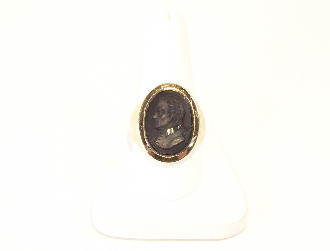 Carved sardonyx man's intaglio ring