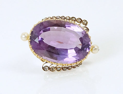 Vintage amethyst, pearl and rose cut brooch