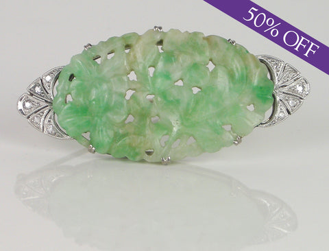 Art Deco jadeite and diamond pin - ORIGINAL PRICE $1800