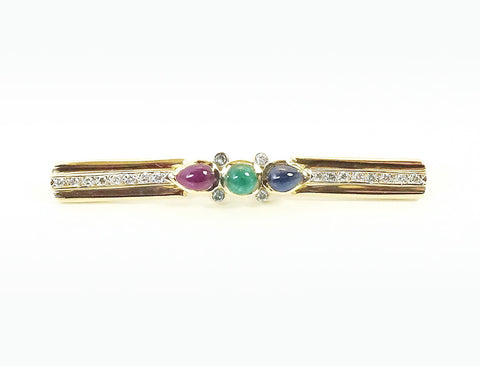 Precious gemstone bar pin