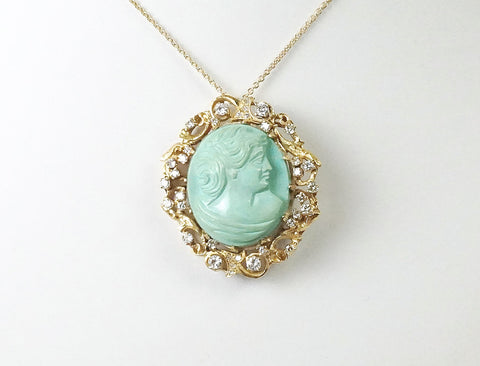 Carved turquoise cameo pendant