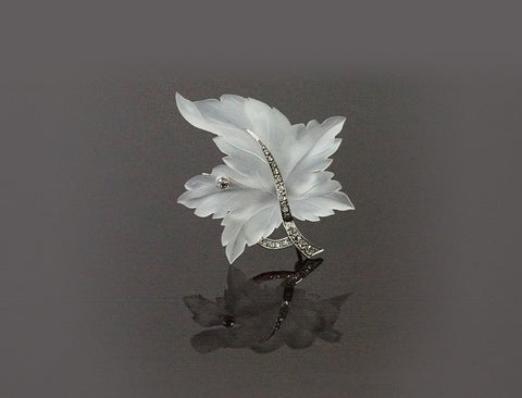 French-made carved crystal leaf pin