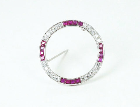 Classic ruby and diamond circle pin