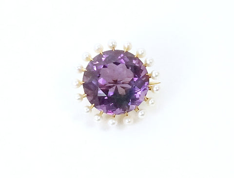 Vintage amethyst and pearl pin
