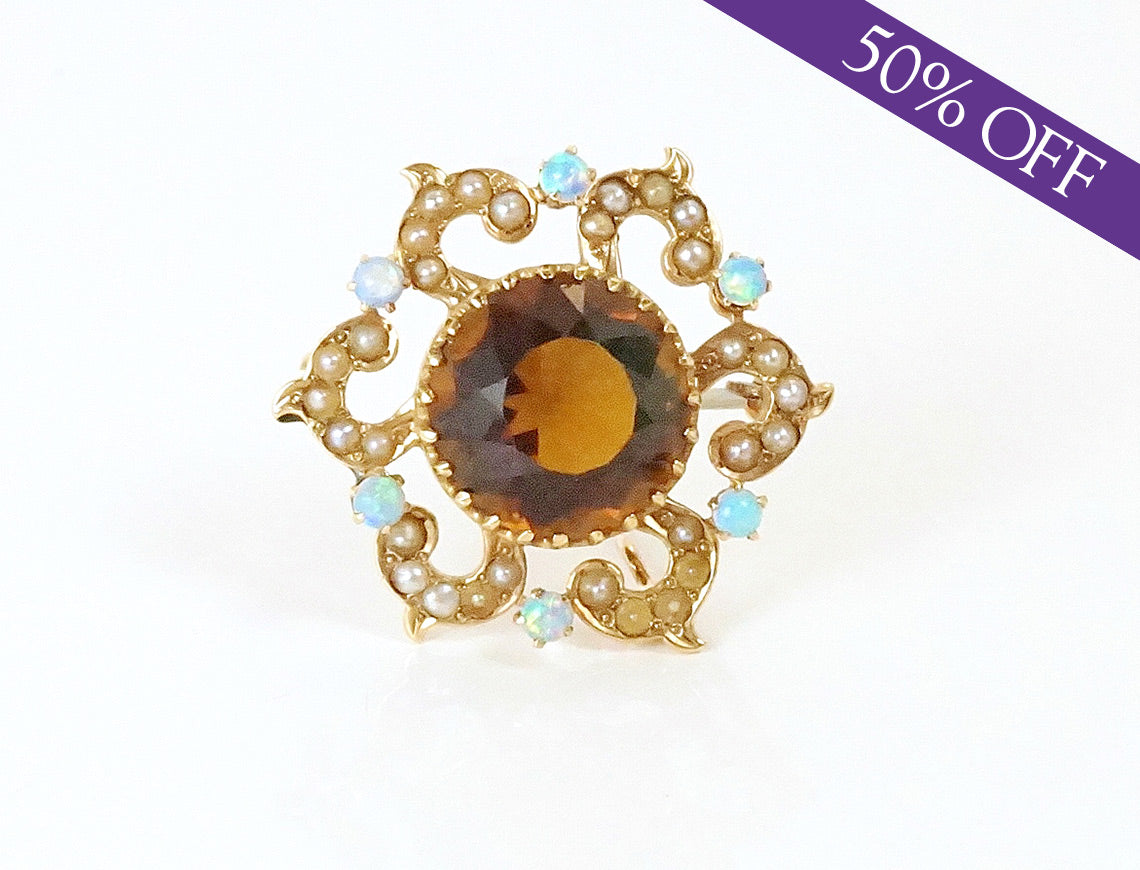 Smoky quartz, pearl and opal brooch – ORIGINAL PRICE $475