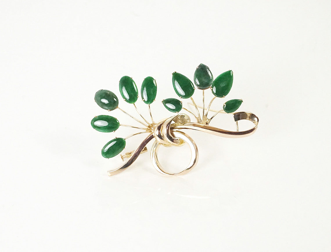 Jadeite spray brooch