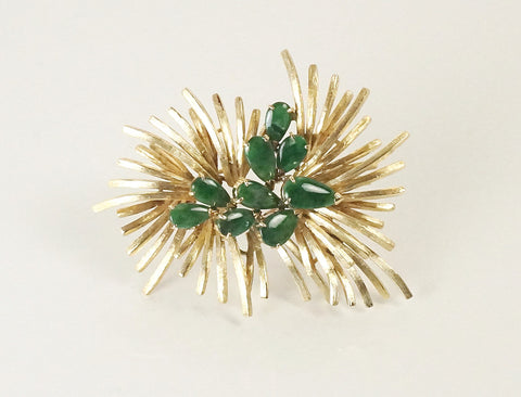 Spray brooch with jadeite