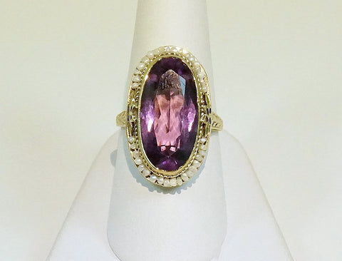 Vintage hand-engraved amethyst ring