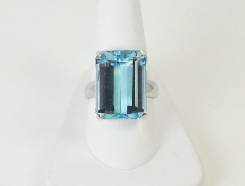 Big blue topaz ring