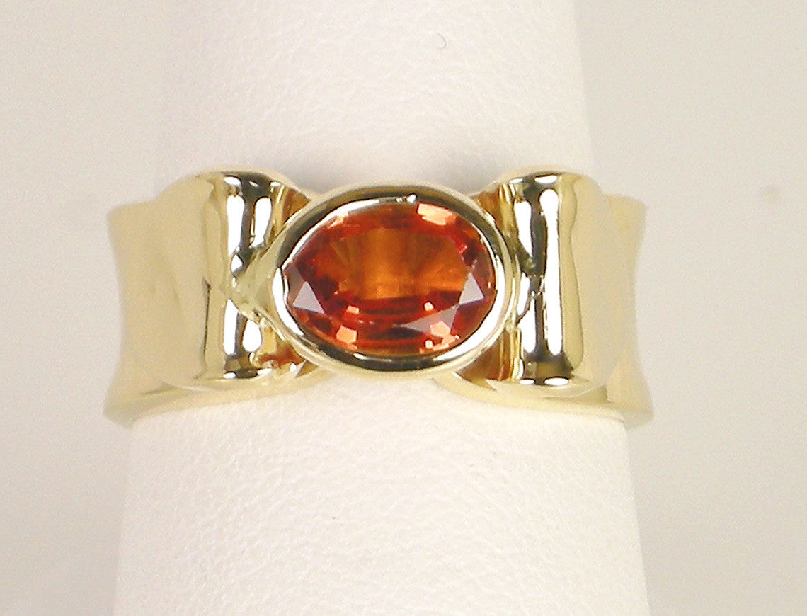 Citrine in hand-hammered ring