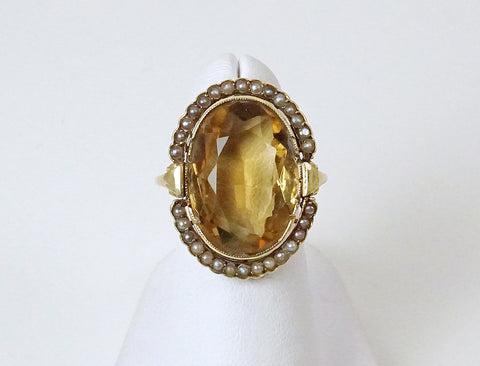 Vintage citrine and seed pearl ring