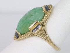 Unique Art Deco jade ring