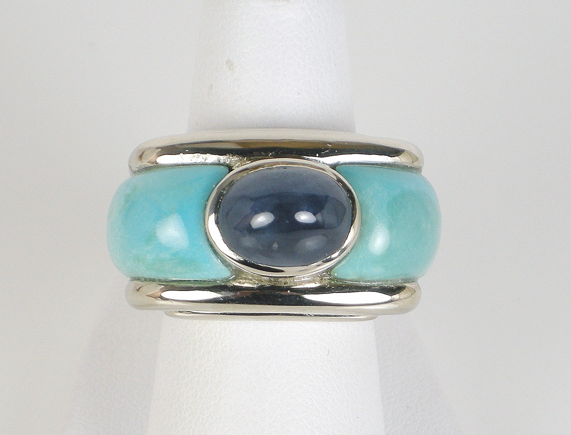 Bold custom turquoise and sapphire ring