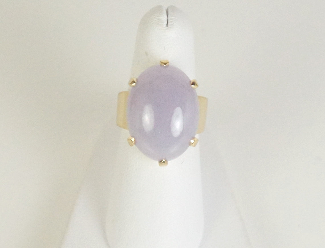 Lavender jade ring by Gump's
