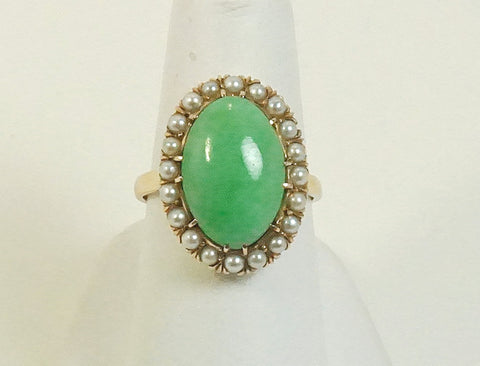 Jadeite and pearl ring