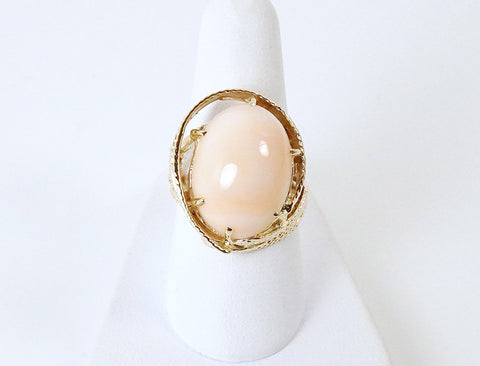 Angelskin coral cabochon ring