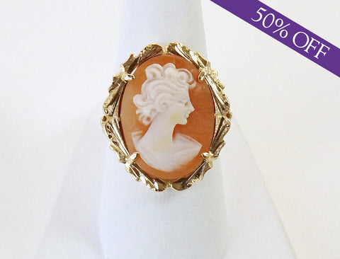 Hand-carved agate cameo ring - ORIGINAL PRICE: $480